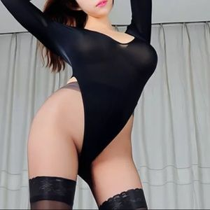 Tops - Black long sleeve Brazilian high cut bodysuit sexy